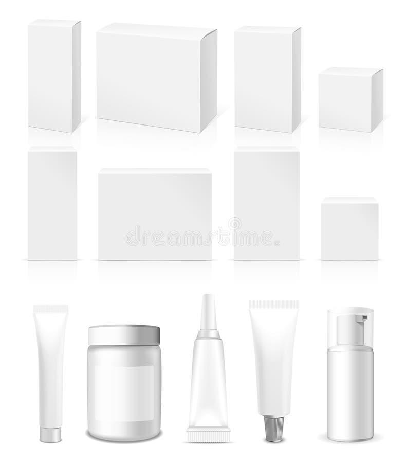 Realistisch vectorbuizen, Kruik en Pakket stock illustratie