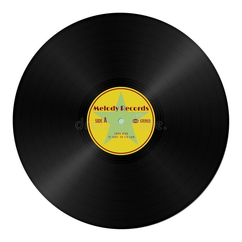 Realistisch vectorgrammofoon vinylverslag in retro stijl met geel etiket Uitstekende audio plastic schijf royalty-vrije illustratie