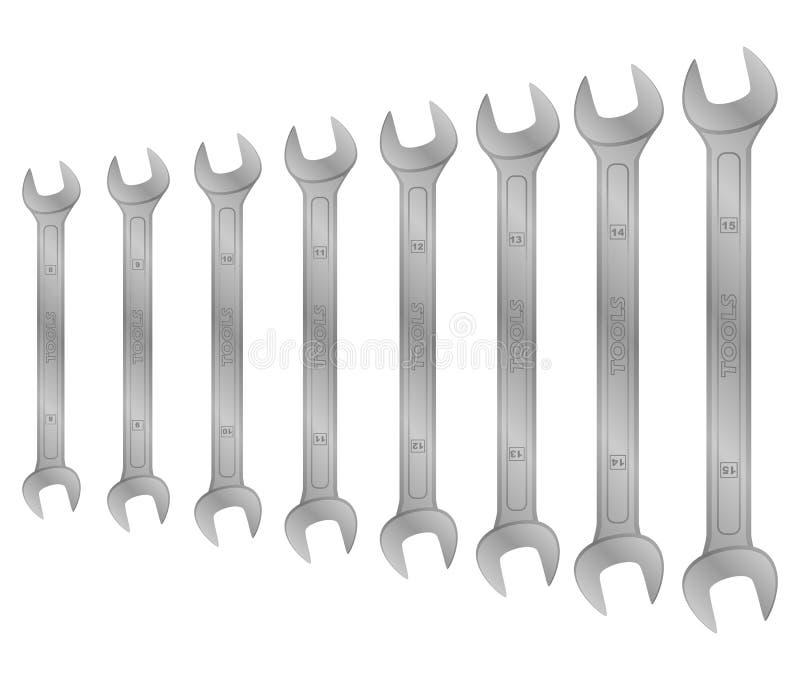 Realistisch vectorhulpmiddel Britse sleutels stock illustratie
