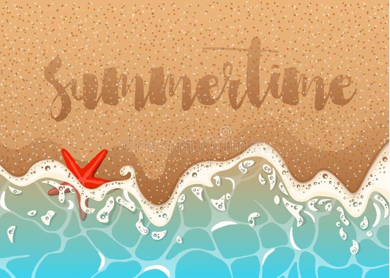 Realistisch vectorkader van azuurblauwe schuimende golf, zeester en shells Realistische vectorachtergrond van een zandig strand m stock illustratie