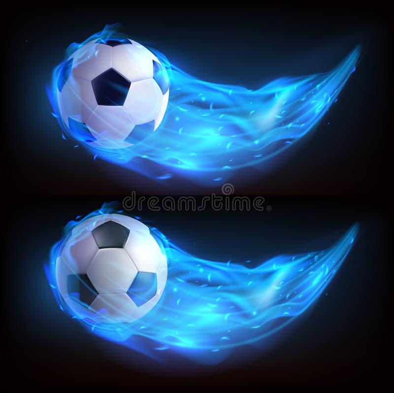 Realistisch vliegende voetbal in blauw vuur royalty-vrije illustratie