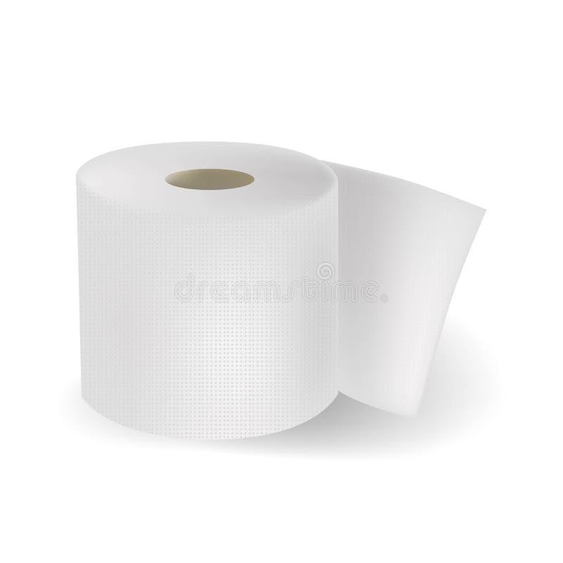 Realistisch wit geweven die toiletpapier op vhiteachtergrond wordt geïsoleerd Vector illustratie stock illustratie