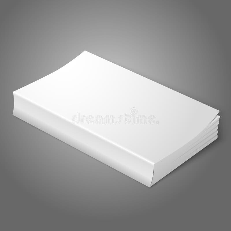 Realistisch wit leeg softcoverboek geïsoleerde stock illustratie