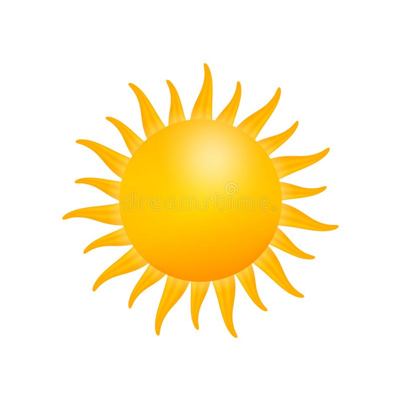 Realistisch zonpictogram voor weerontwerp op witte achtergrond Vector voorraadillustratie royalty-vrije illustratie