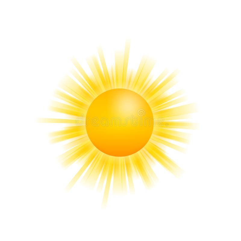 Realistisch zonpictogram voor weerontwerp op witte achtergrond Vector voorraadillustratie vector illustratie