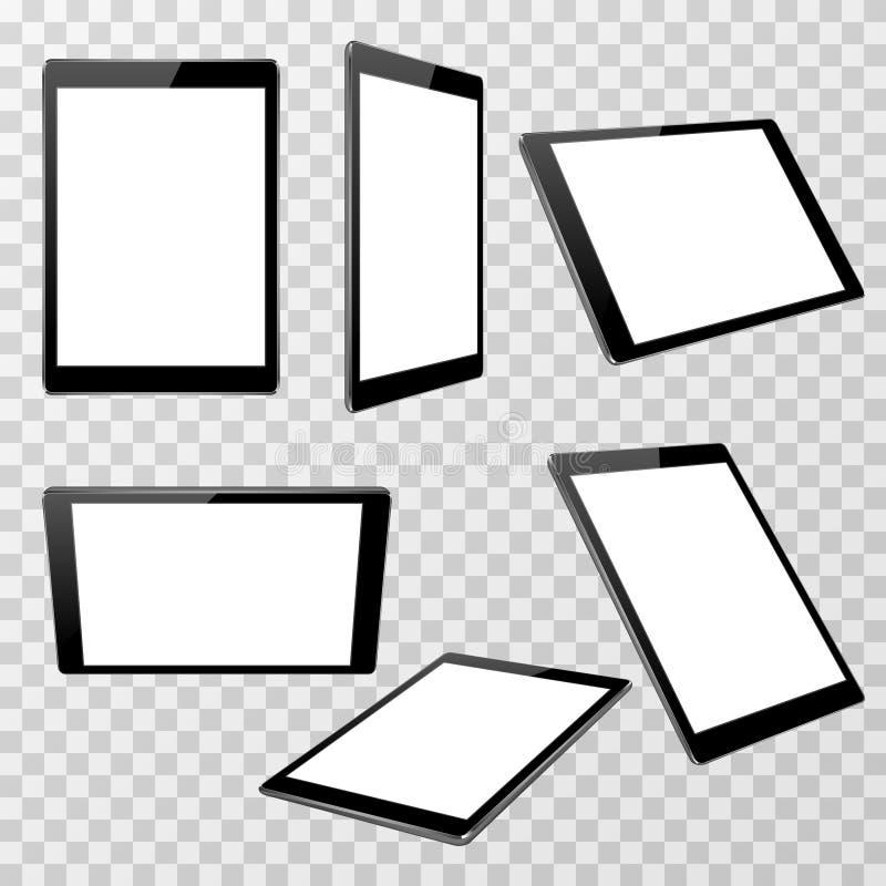 Realistisch zwart tablet vectormalplaatje dat op transparante geruite achtergrond in verschillend standpunt wordt geïsoleerd vector illustratie