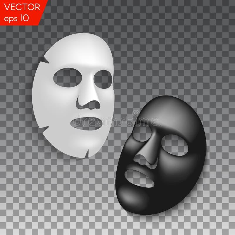 Realistisch zwart-wit gezichts kosmetisch bladmasker op transparante achtergrond royalty-vrije illustratie