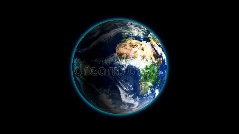 Realistische Aarde die op zwarte Lijn roteren als achtergrond De bol is gecentreerd in kader, met correcte omwenteling in naadloz stock illustratie