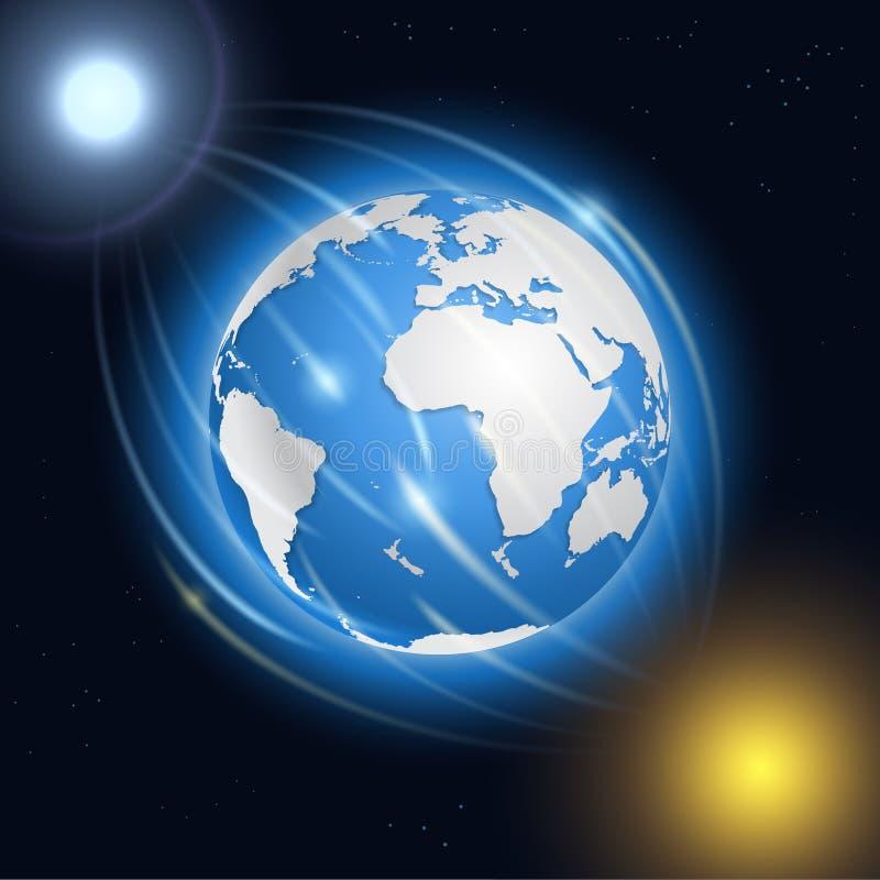 Realistische aarde, maan, zon en sterren vector illustratie