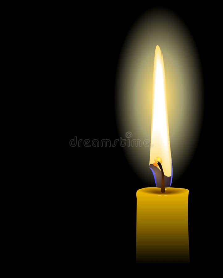 Realistische Abbildung der gelben Kerze lizenzfreie abbildung