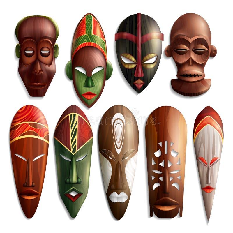 Realistische Afrikaanse Geplaatste Maskers royalty-vrije illustratie