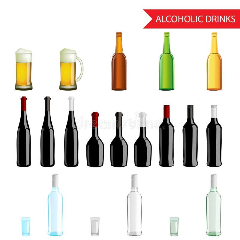 Realistische Alcoholische Dranken en drankenpictogramreeks royalty-vrije illustratie