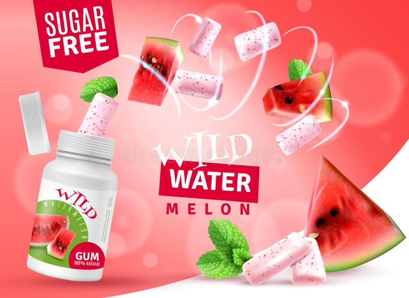 Realistische Anzeige Wassermelone Bubblegum vektor abbildung