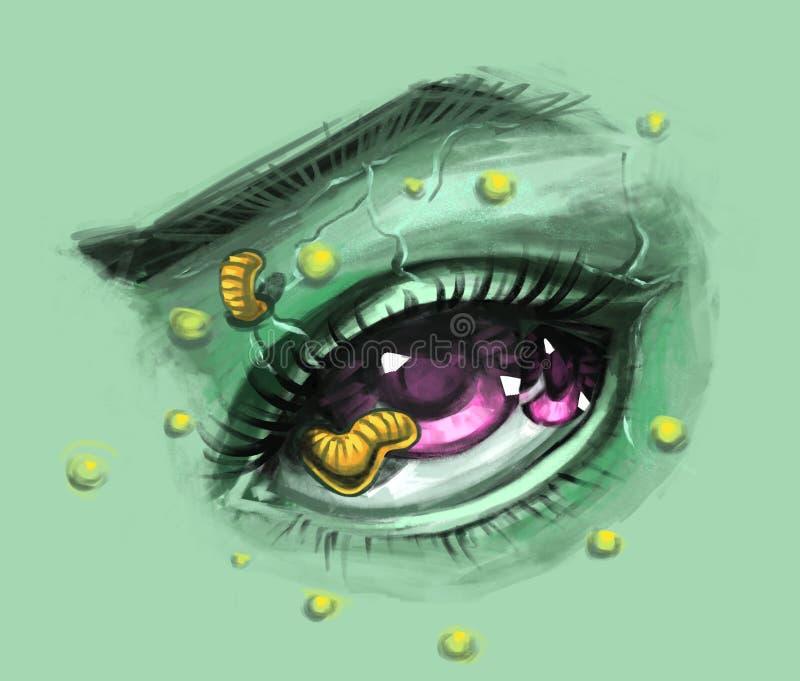 Realistische Augenskizze des Zombies stock abbildung