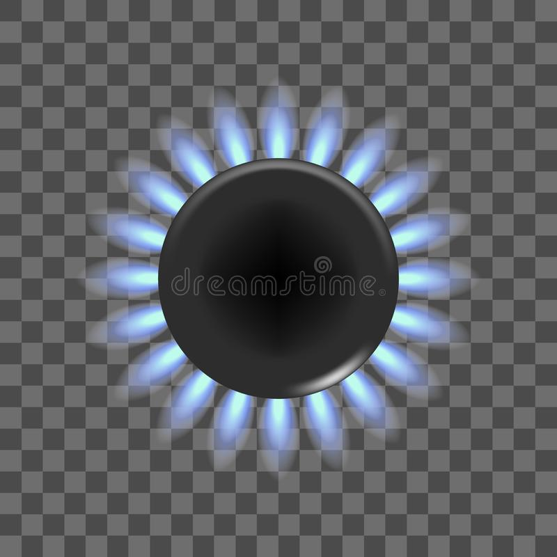 Realistische ausführliche Brenner-Flamme des Gasherd-3d auf einem transparenten Hintergrund Vektor lizenzfreie abbildung