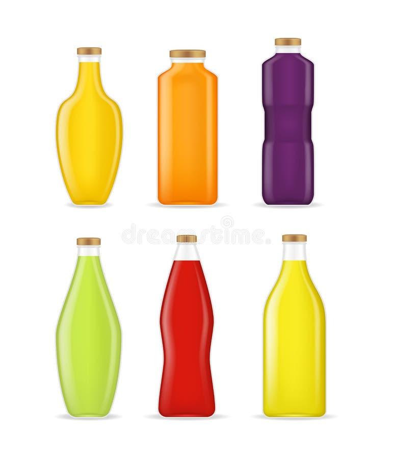 Realistische ausführliche 3d verschiedene Arten Juice Bottle Glass Set Vektor stock abbildung