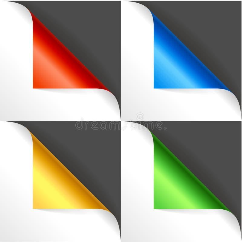 Realistische ausführliche Farbe 3d kurvte Ecken-Satz Vektor stock abbildung