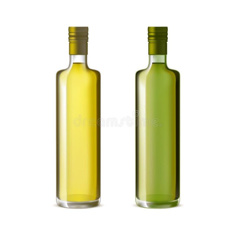 Realistische ausführliche Olive Oil Glass Bottle Set Vektor lizenzfreie abbildung