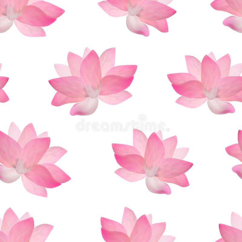 Realistische ausführliche rosa Lotus Flower Background Pattern Vektor lizenzfreie abbildung