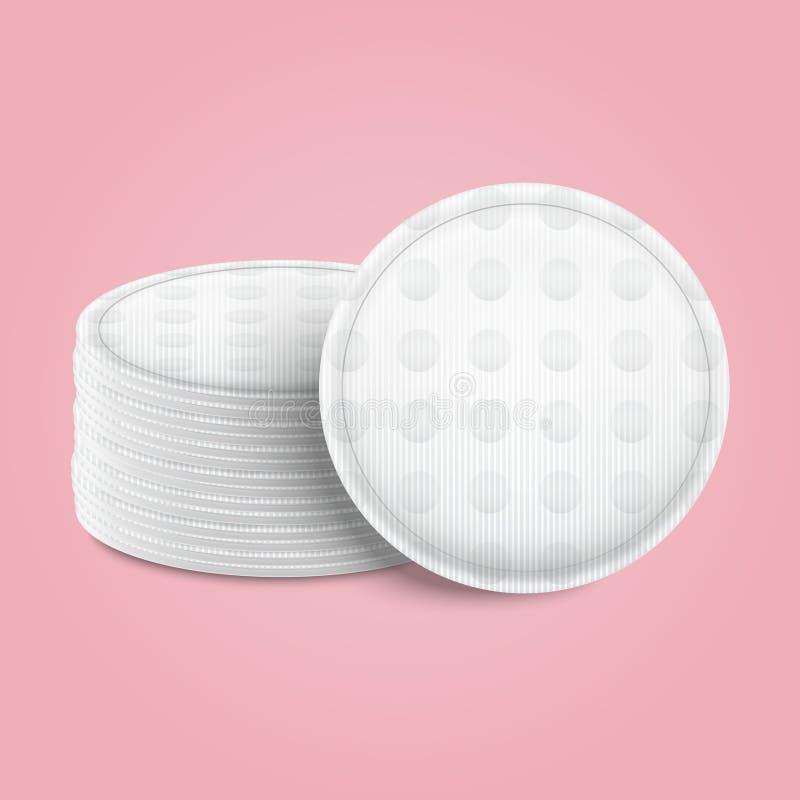 Realistische ausführliche weiße leere kosmetische Baumwolle 3d füllt Schablonen-Modell-Satz auf Vektor stock abbildung