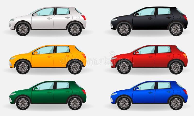 Realistische auto's op een witte achtergrond Reeks van zes verschillende kleurenvoertuigen stock illustratie