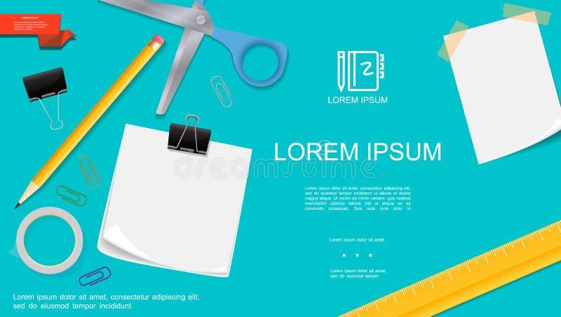 Realistische Büro-Briefpapier-Schablone lizenzfreie abbildung