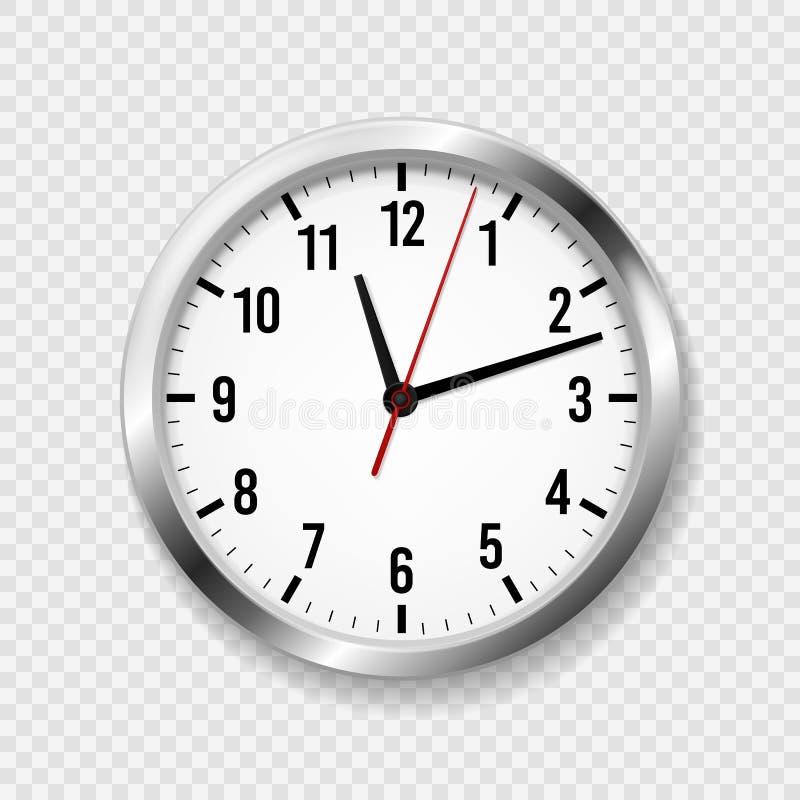 Realistische B?ro-Borduhr Die moderne runde Wand passt mit Zeitpfeilen und -Ziffernblatt auf klassischer Uhrzeitplan des Metall 3 stock abbildung