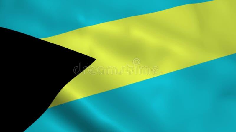 Realistische Bahamas-Flagge lizenzfreie abbildung