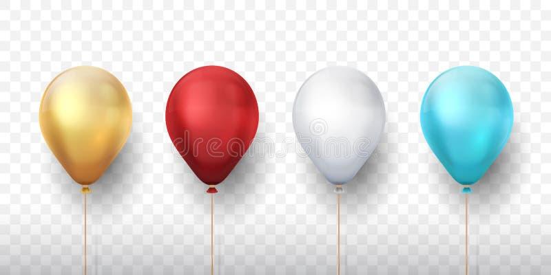 Realistische Ballone Elemente der Urlaubsparty 3D für Einladungskarten und Fahnen, Dekorationsentwurfsschablonen Vektor vektor abbildung