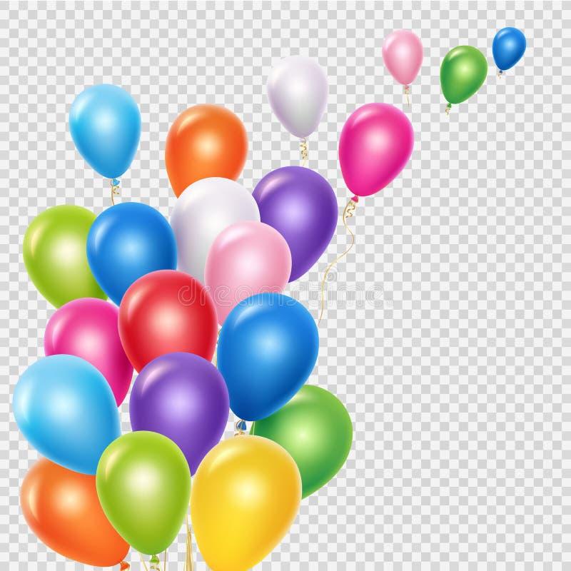 Realistische Ballonvektor-Hintergrundschablone Fliegende bunte Ballone lokalisiert auf transparentem Hintergrund vektor abbildung