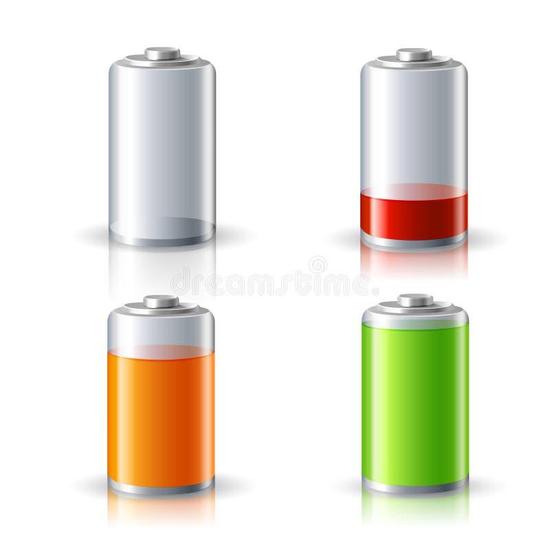 Realistische Batterie-Status-Ikonen eingestellt stock abbildung