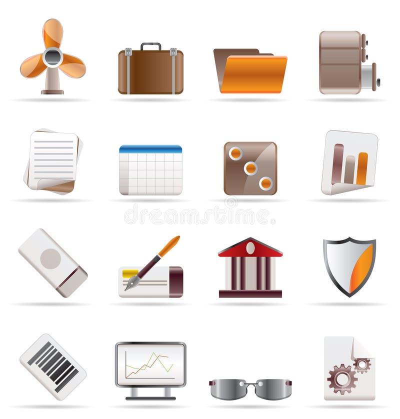 Realistische Bedrijfs en van het Bureau Pictogrammen vector illustratie