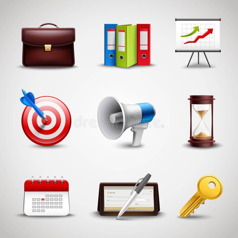 Realistische Bedrijfspictogrammen stock illustratie