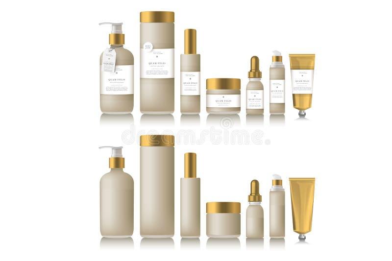 Realistische beige fles voor etherische olie stock illustratie
