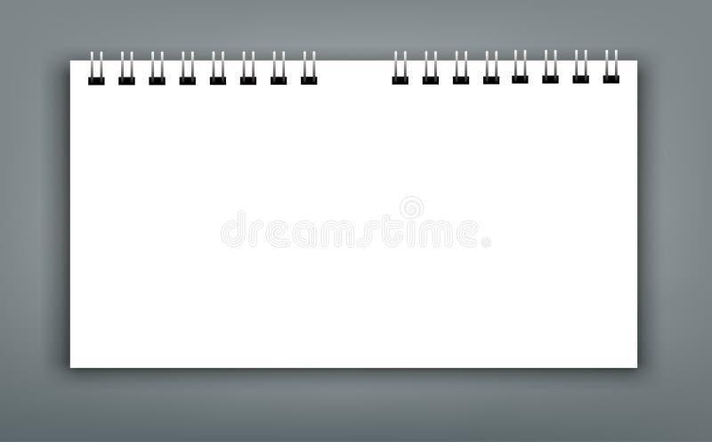 Realistische Blätter Papier mit gewundener ModellAbdeckung Schablone vektor abbildung