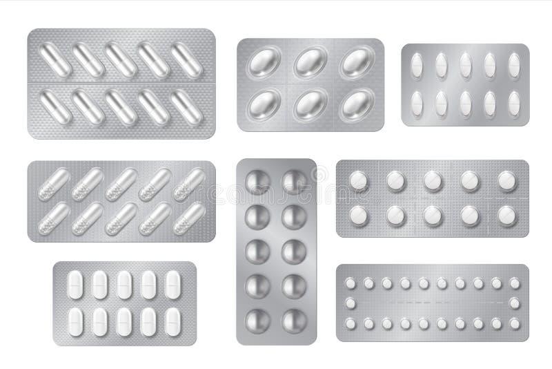 Realistische Blasen Medizinpillen- und -kapsels?tze, wei?e Drogen 3D und Vitamine lokalisierten Modell Vektorapothekensatz vektor abbildung
