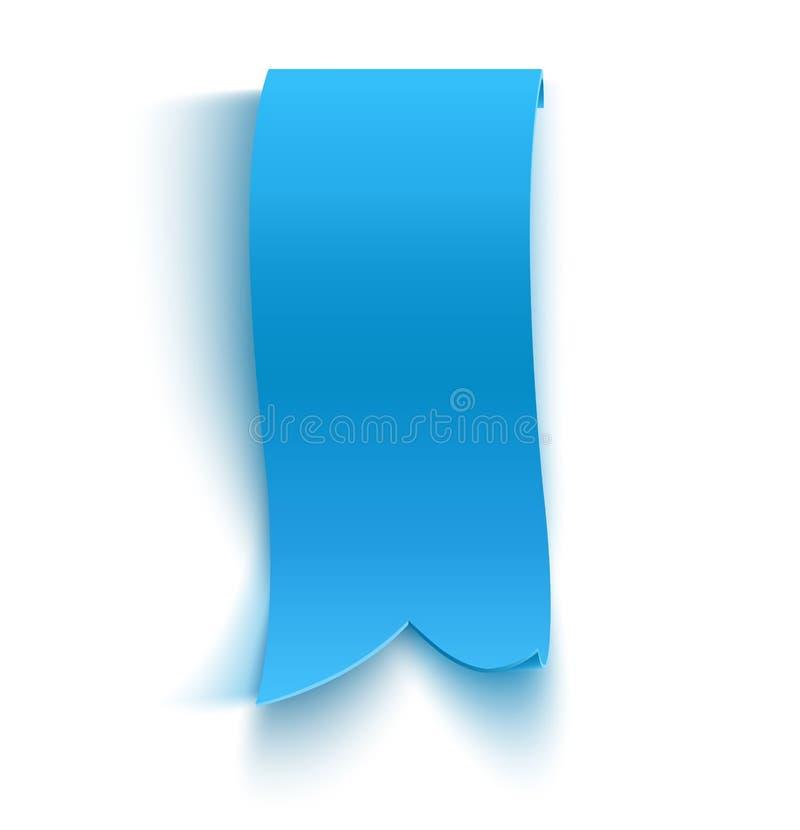 Realistische blauwe gedetailleerde gebogen document banner stock illustratie