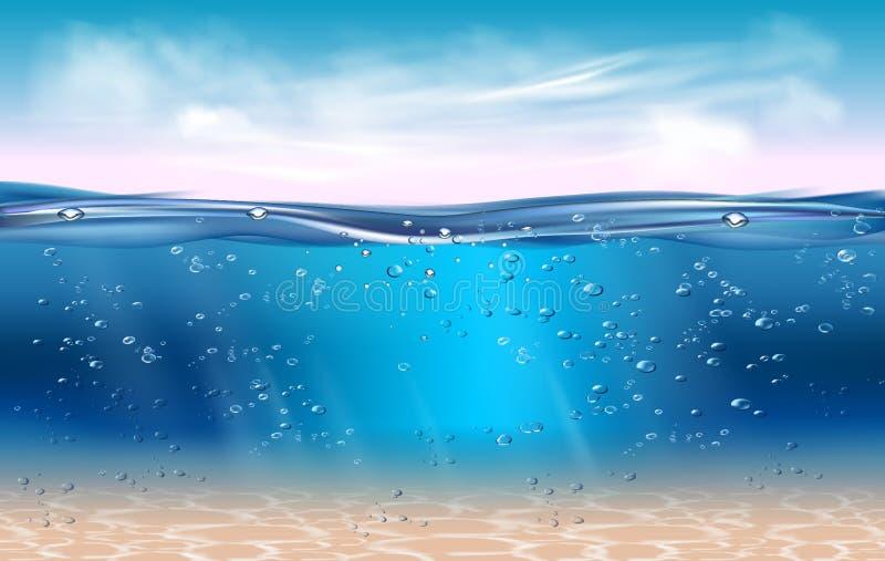 Realistische blauwe onderwater royalty-vrije illustratie