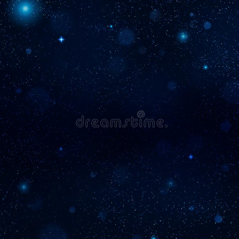 Realistische blauwe sterrige nachthemel met zacht licht Heelal met sterren, nevel en melkweg wordt gevuld die Eps 10 vector illustratie