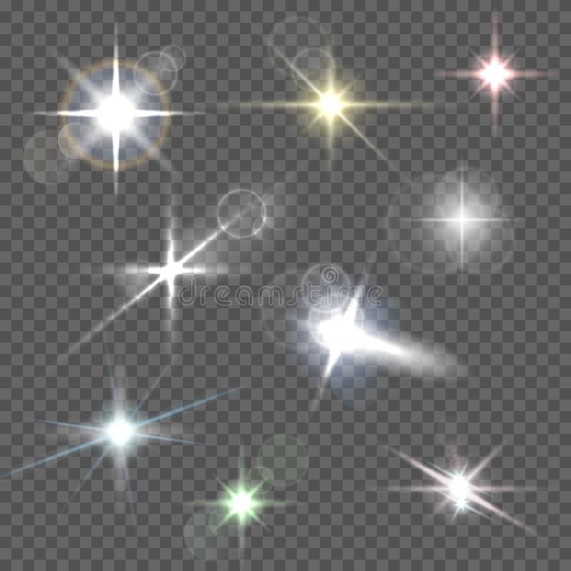 Realistische Blendenflecksternlichter und weiße Elemente des Glühens auf transparentem Hintergrund vector Illustration lizenzfreie abbildung