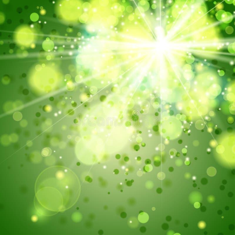 Realistische bokeh steekt groen aan stock illustratie