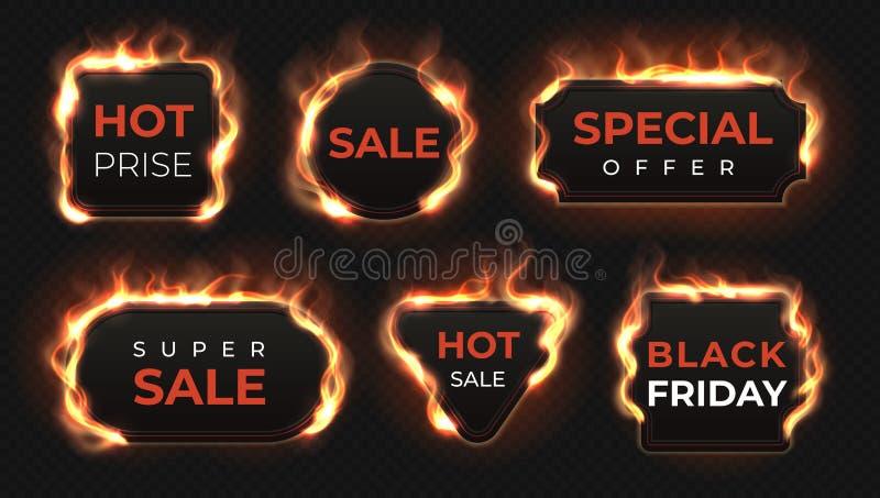 Realistische brandetiketten De hete overeenkomst en de verkoop bieden tekstbanners met glanzend vlameffect aan, geïsoleerde ontw vector illustratie