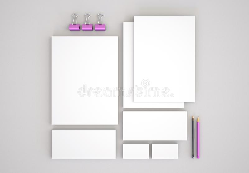 Realistische Briefpapier-Modelle eingestellt Briefkopf, Namenkarte, Umschlag, Darstellungsordner lizenzfreie abbildung