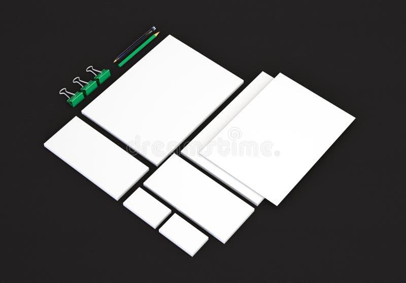 Realistische Briefpapier-Modelle eingestellt Briefkopf, Namenkarte, Umschlag, Darstellungsordner lizenzfreie stockfotografie