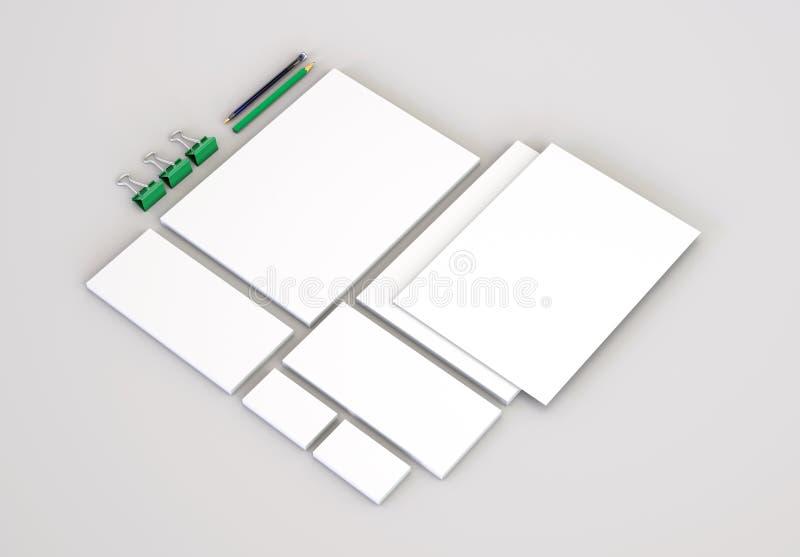 Realistische Briefpapier-Modelle eingestellt Briefkopf, Namenkarte, Umschlag, Darstellungsordner vektor abbildung
