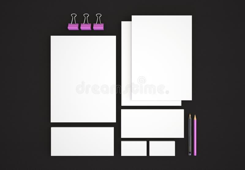 Realistische Briefpapier-Modelle eingestellt Briefkopf, Namenkarte, Umschlag, Darstellungsordner lizenzfreie stockbilder