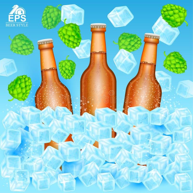 Realistische bruine fles drie biertribune in ijsblokjes onder vliegende hopkegels en ijs op blauw royalty-vrije illustratie