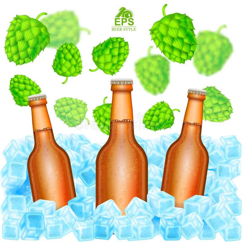 Realistische bruine fles drie van biertribune in ijsblokjes onder het vliegen diepte van de kegels van de gebiedshop op wit stock illustratie