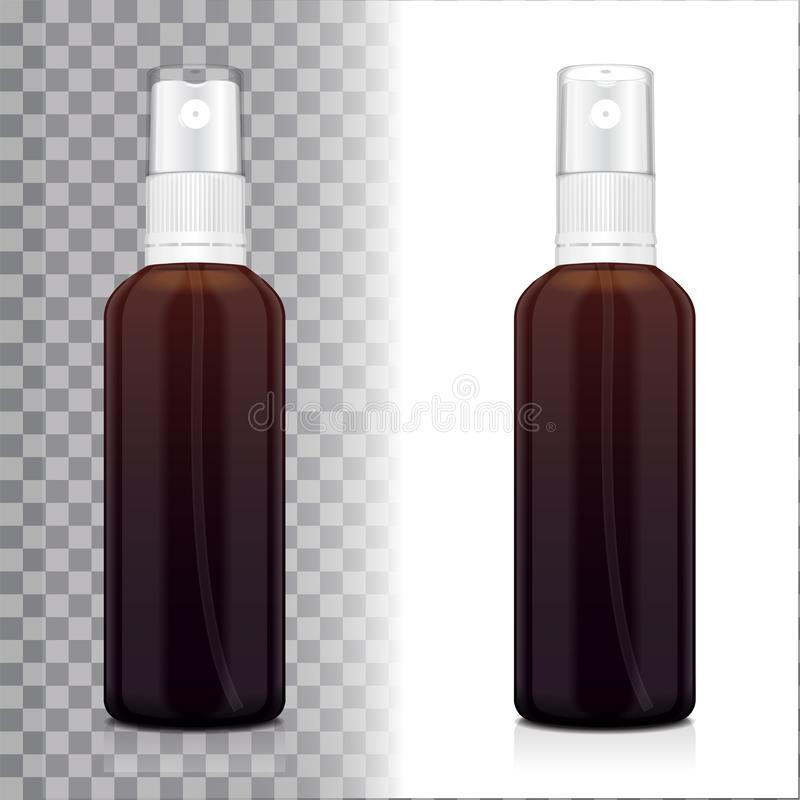 Realistische bruine fles met verstuiver Spot op flessen kosmetisch of medisch flesje, fles, flacon 3d illustratie royalty-vrije illustratie