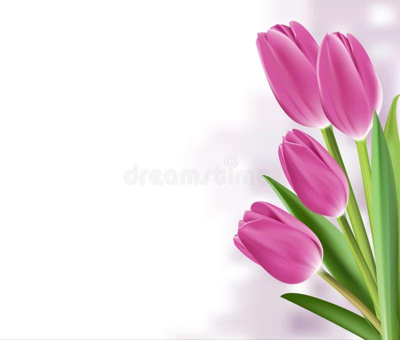 Realistische bunte Tulpen im Hintergrund stock abbildung